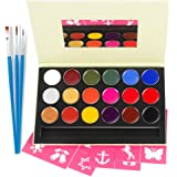 Face Painting Kits for Halloween Cosplay Makeup Paint, Non-Toxic Face Painting Safe for Sensitive Skin with18 Colors for Kids Adults