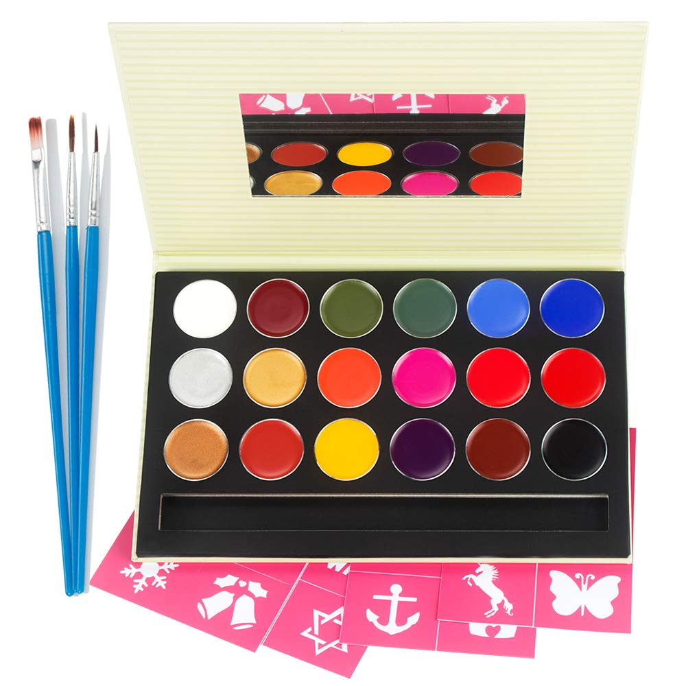 Face Paint Kit for Kids and Adults, 100% Safe Non-Toxic Halloween Face Painting Kits for Senstive Skin with 18 Colors HLT