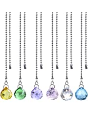 Crystal Multi-Color Crystal Ball Prism Dazzling Crystal Ceiling Fan Pull Chains (Set of 6-20mm)