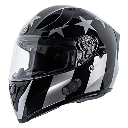 5760a788 Amazon.com: TORC T15B Bluetooth Integrated Full Face Motorcycle Helmet With  Graphic (Gloss Black Captain Shadow,Medium): Automotive