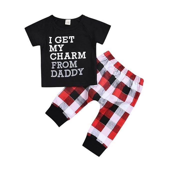 d7ae6c785 PAOLIAN Ropa para niños para Verano Conjuntos Camisetas + Pantalones  Impresion de Cuadros y Alfabeto de