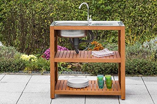 Outdoorküche Edelstahl Reinigen : Gartenspüle holz mit edelstahlbecken 90x46x91cm voll
