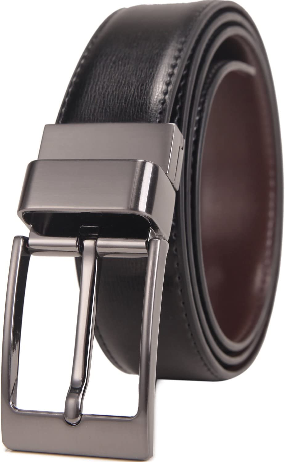 Nylon Rotated Buckle,26-28 Beltox Fine Mens Dress Belt Leather Reversible 1.25 Wide Rotated Buckle Gift Box