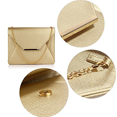 Size Clutch Designer Leather Faux 2 Chain Ladies Large Purse Design With Look Womens Handbag Envelope Gold g5Aqxw