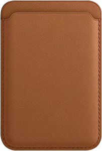 UNIYA Leather Wallet Pouch Card Holder Magnetic Card Case with Magsafing Magnetic for iPhone 12 Mini, iPhone 12, iPhone 12 Pro, iPhone 12 Pro Max (Saddle Brown)