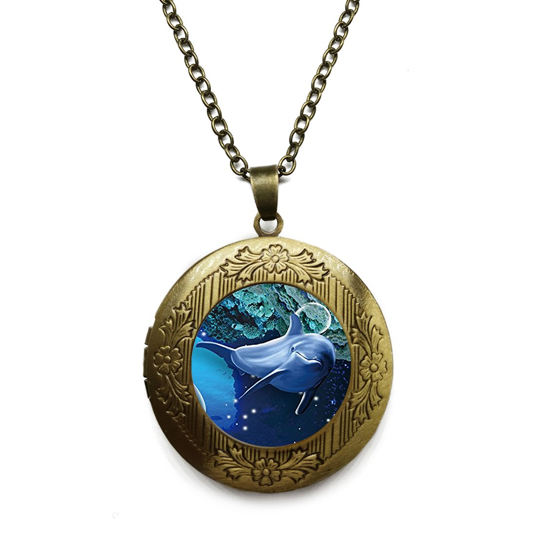 Vintage Bronze Tone Locket Picture Pendant Necklace Friendly Beautiful Dolphin Seabed Included Free Brass Chain Gifts Personalized