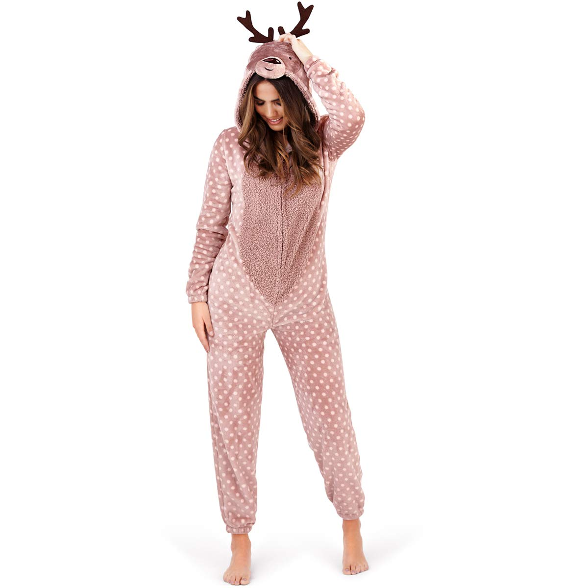 Womens Fleece 3D Costume Ladies All in One Jumpsuit PJ's - Animal Onezee