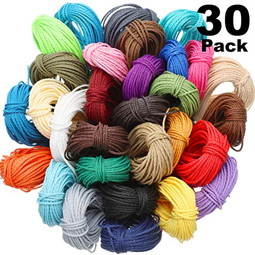 328 Yards 30 Colors 1mm Waxed Polyester Twine Cord Macrame Bracelet Thread for Jewelry Making DIY Cords, 10m Each Color