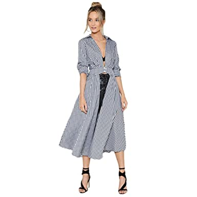 SenYue-Cheung Women Midi Dress Turn-Down Collar Lace-up Sashes Full Sleeve Button Lady Vestidos Casual Female De Festa at Amazon Womens Clothing store: