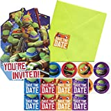 8 Count, Ninja Turtles Themed Party Invitations with 8 Lime Green Envelopes & 8 Matching Seals