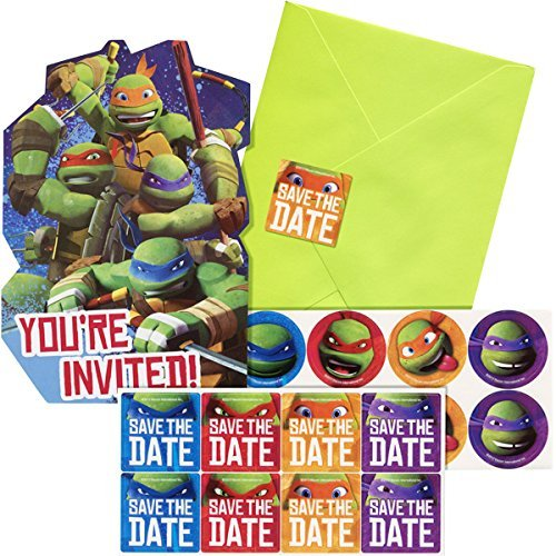 8 Count, Ninja Turtles Themed Party Invitations with 8 Lime Green Envelopes & 8 Matching Seals -