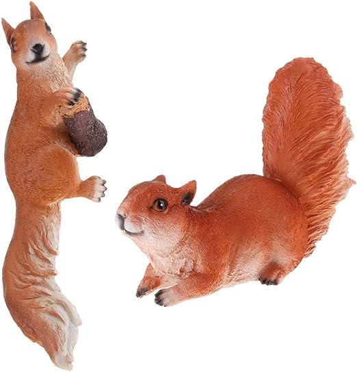 FLAMEER 2 Piezas Animales Artificiales Ardillas para Decorar Jardín Escultura de Animales 3D Modelo de Ardillas - Marrón: Amazon.es: Jardín
