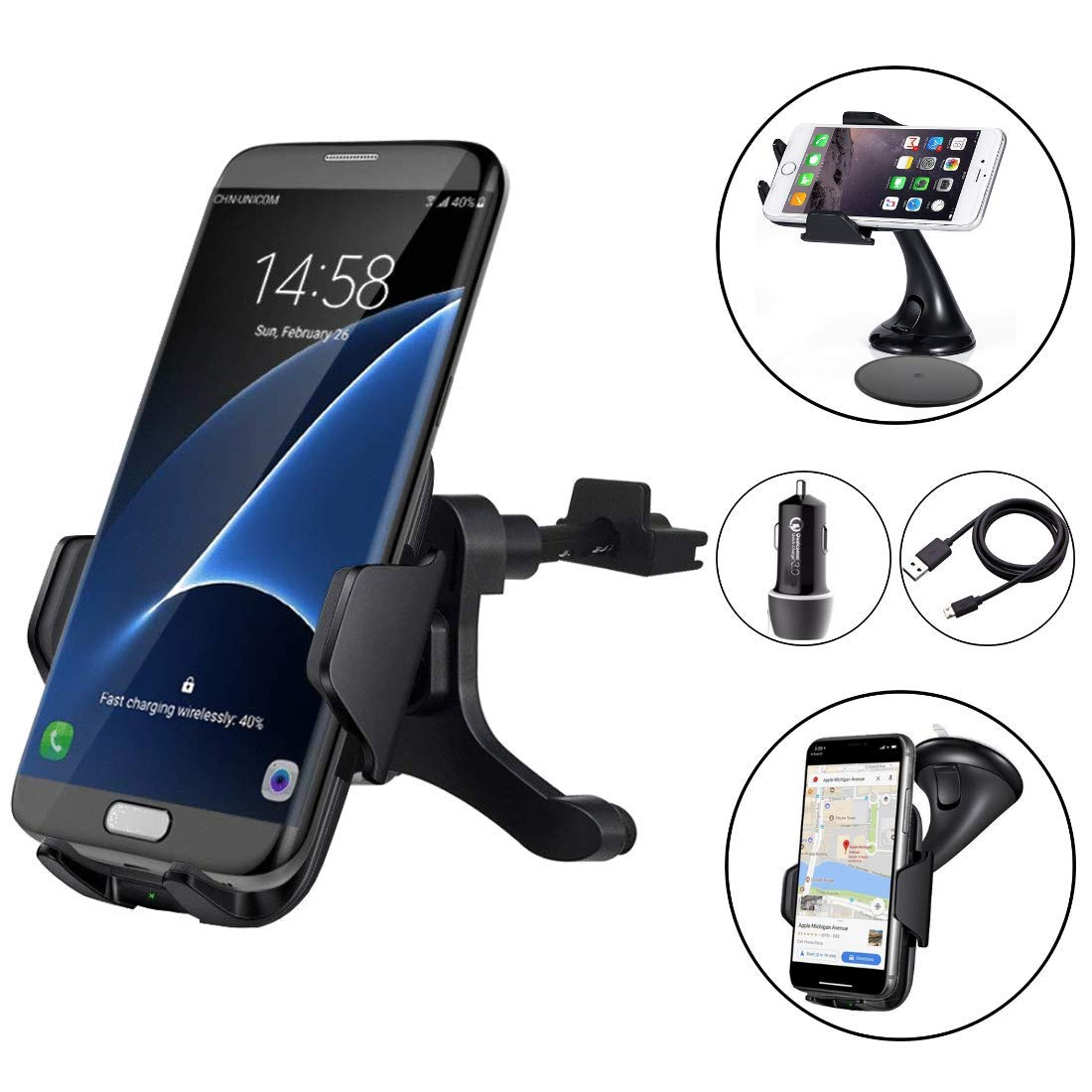 Wireless Car Charger Bundle - ZALE Wireless Charger Car Mount, Air Vent Phone Holder, QC3.0 Fast Charging Adapter Included, for iPhone X/8/8 Plus|Samsung Galaxy S9/8/7/Note 8 & All QI-Enabled Devices