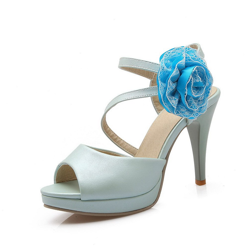 AllhqFashion Women's Soft Material Pull-on Peep Toe High-Heels Solid Heeled-Sandals, Blue, 33