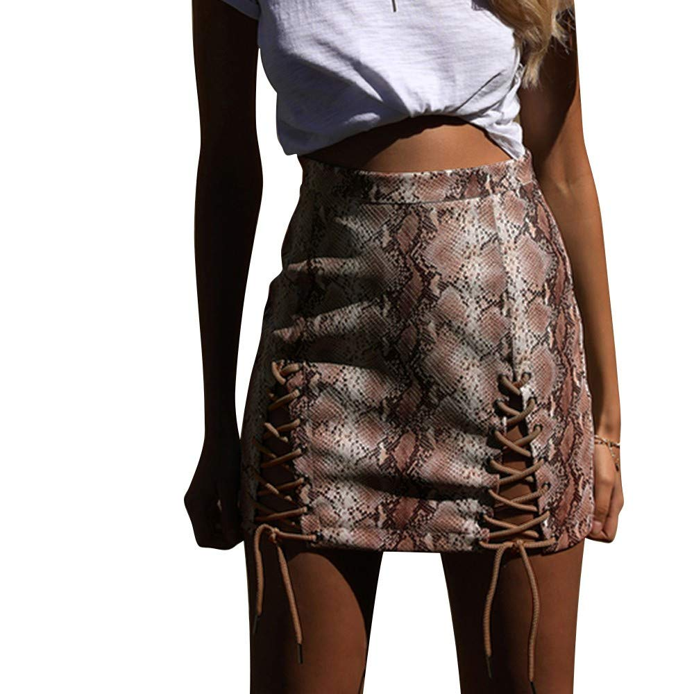 Thenxin Womens Snake Print Strapped Mini Skirt High Sexy Waist Bodycon Clubwear Skater (Beige,L)