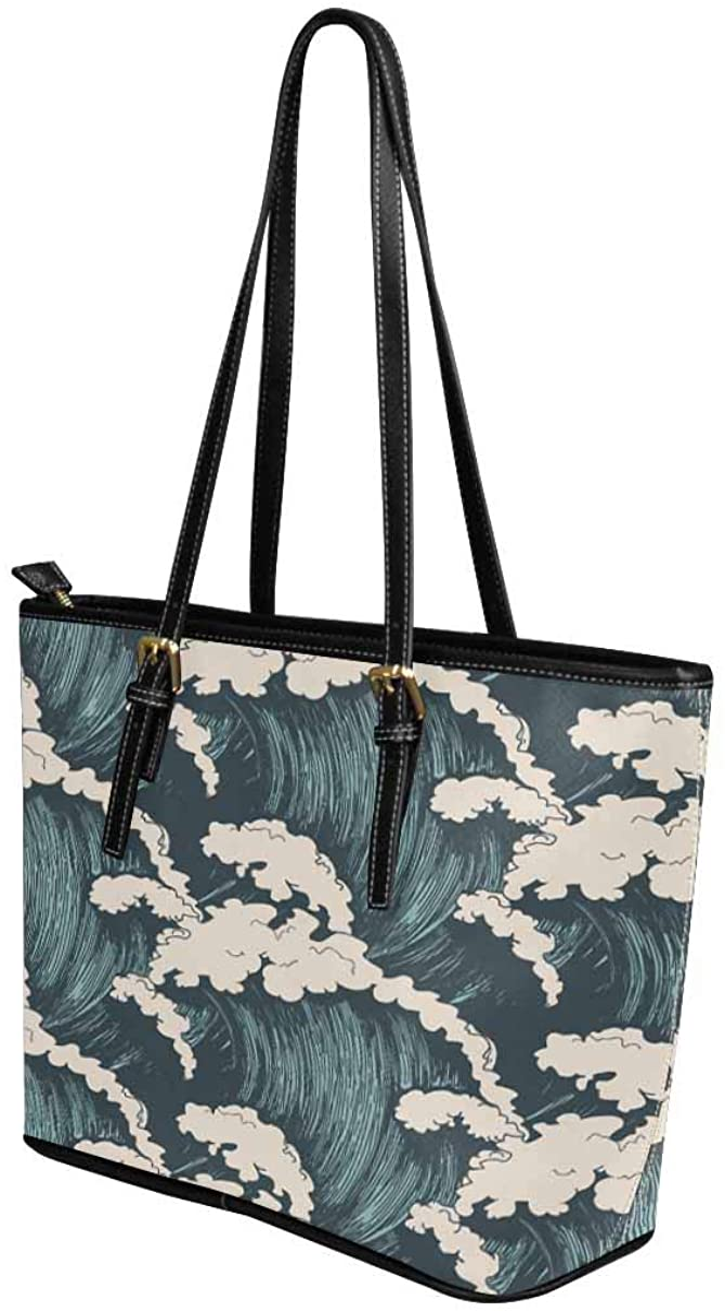InterestPrint Top Handle Satchel HandBags Shoulder Bags Tote Bags Purse Japanese Ocean Wave