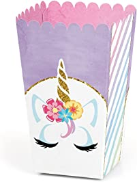 Rainbow Unicorn - Magical Unicorn Baby Shower or Birthday Party Favor Popcorn Treat Boxes - Set of 12