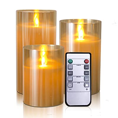 "Kithouse Flameless Led Candles Flickering Battery Operated Pillar Real Wax LED Glass Candle Sets with Remote Control Cycling 24 Hours Timer, 4"" 5"" 6"" Pack of 3: Home Improvement"