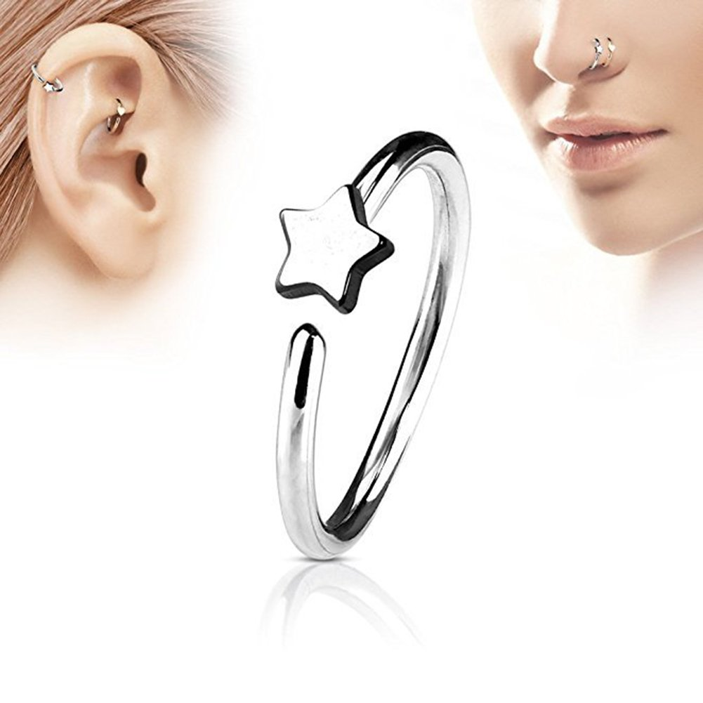 a31d02c01b6 Amazon.com : Silver Men Women Star Fake Non Piercing Clip-on Nose Ring Stud  Club Fashion Jewelry : Everything Else