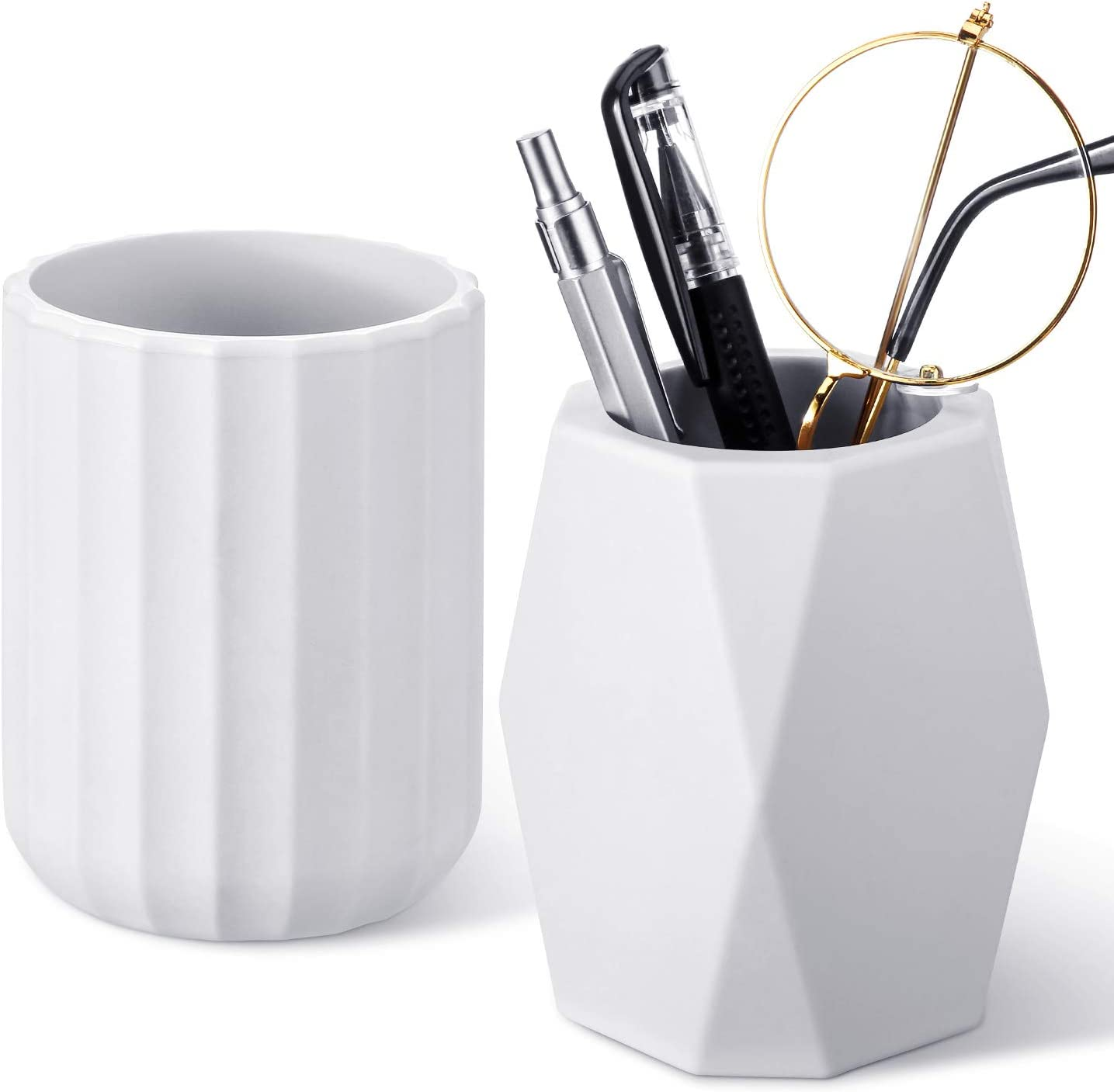 2 Pieces Silicone Pencil Holder Geometric Pen Cup Round Pen Container Desktop Pencil Stationary Holders Makeup Brush Holder for School Office Home Desk Supplies