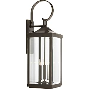 "Progress Lighting P560023-020 Gibbes Street Three-Light Large Wall Lantern (9.5""), Antique Bronze"