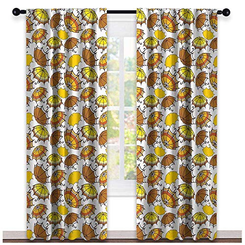 (hengshu Umbrella, Curtains and Valances, Striped Parasols with Bent Crook Handles in Earth Tones Cartoon Style, Curtains for Boys Room, W72 x L84 Inch Brown Yellow Orange)
