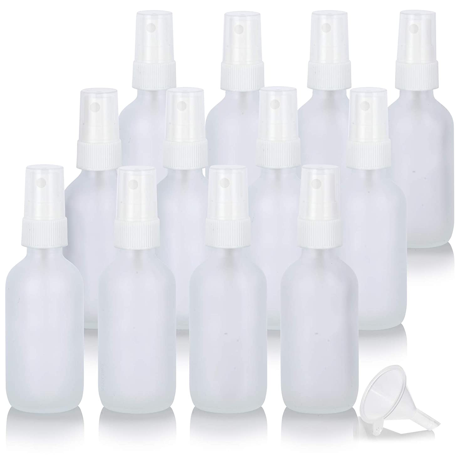 2 oz Frosted Clear Glass Boston Round White Fine Mist Spray Bottle (12 pack) + Funnel for essential oils, aromatherapy, food grade, bpa free