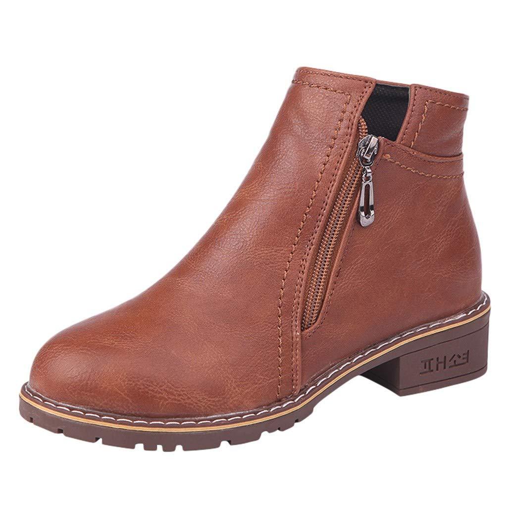 Mosstars Stivali Corti Donna Eleganti in Pelle Tacco a Blocco Stivali Bassi Donna Casuale Autunno Stivaletti Scarpe con Cerniera Ankle Boots