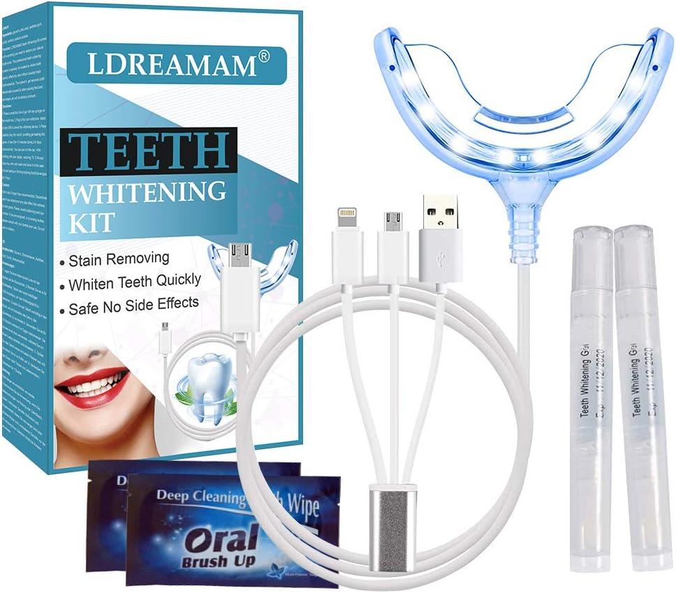 Kit de Blanqueamiento,Blanqueamiento Dental,Gel Blanqueador de Dientes,Teeth Whitening Kit,1 Bandeja Dental de Luz LED, Adaptadores para iPhone, Android y USB