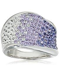 Sterling Silver Wave Shape Swarovski Elements Ring