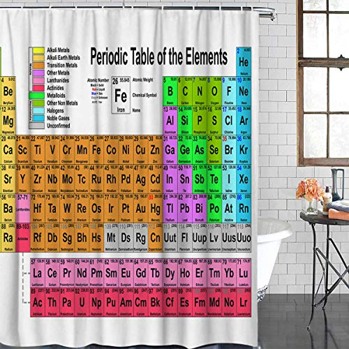 - Decor Love Periodic Table Shower Curtains for Bathroom Waterproof Durable Fabric Polyester Curtains with Hooks, Children Educational Science Chemistry for School Students Teachers, 48 x 72 inch