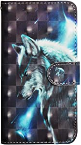 XYX Wallet Case for Samsung Galaxy J2 Core/J2 Dash/J2 Pure/J260/J2 Shine/J2 2019, Colorful PU Leather Flip Wallet Case with Card Slots and Wrist Strap, Wild Wolf