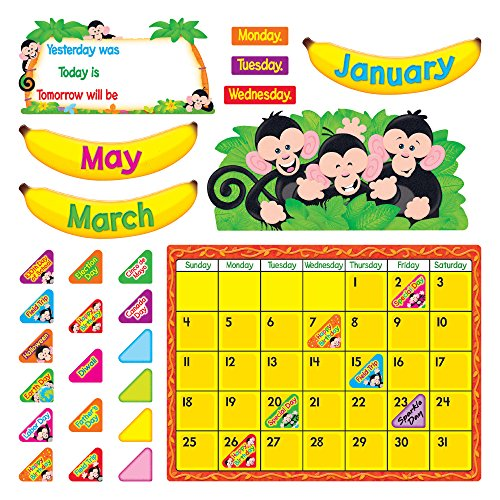 Trend Enterprises T-8340BN Monkey Mischief Calendar Bulletin Board Set, Pack of 2 (Monkey Mischief Bb Set)