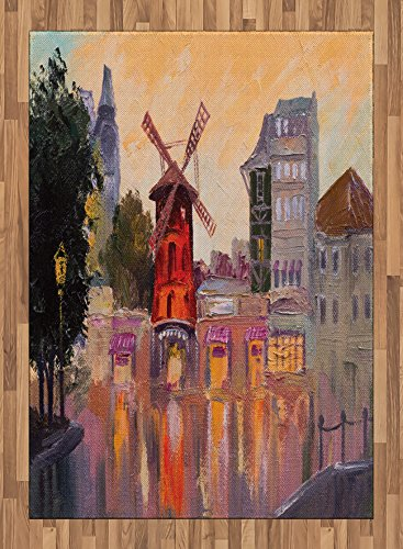 7.5' Center Panel (European Area Rug by Lunarable, Painting of Moulin Rouge in Paris City Centre of Love Vintage France Art Print, Flat Woven Accent Rug for Living Room Bedroom Dining Room, 5.2 x 7.5 FT, Multicolor)