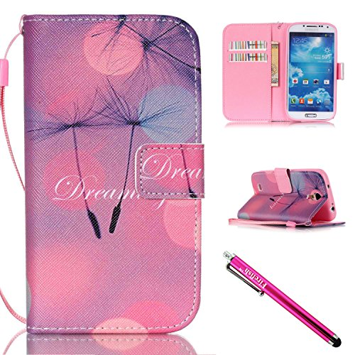 Galaxy S4 Case, Galaxy S4 Wallet Case, Firefish [Kickstand] Design [Card/Cash Slots] Premium PU Leather Wallet Flip Cover with Wrist Strap for Samsung Galaxy S4 i9500-B-Dandelion