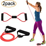 Exercise Resistance Bands Set, 2 Exercise Band with Handles and 1 Free 8-Shape Fitness Cord for Pilates, Yoga, Home Gym Fitness, Physical Therapy, Strength