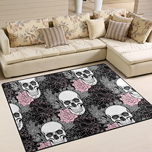 Stylish Sugar Skull Day of the Dead Halloween Decorations Flower Butterfly Area Rug Pad Non-Slip Kitchen Floor Mat for Living Room Bedroom 5' x 7' Doormats Home Decor]()