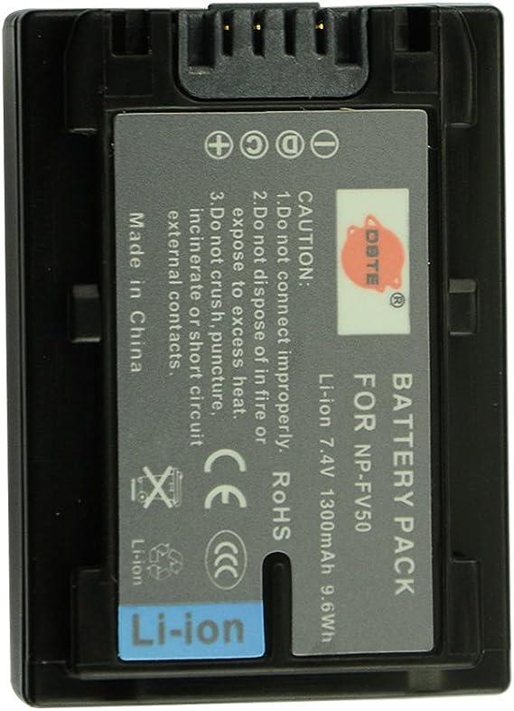DSTE® 2 x NP FV50 Aufladbarer Li Ion Akku + DC04U Reise und KFZ Ladegerät Adapter Für Sony HDR CX220 hdr cx230 hdr cx290 HDR hdr cx380 hdr cx430 V