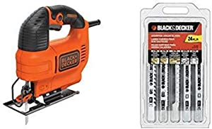 BLACK+DECKER BDEJS300C Jig Saw 4.5-Amp with BLACK+DECKER 75-626 Assorted Jigsaw Blades Set Wood and Metal 24-Pack