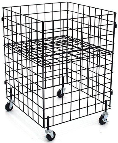 "KC Store Fixtures 54106 Grid Dump Bin with Casters, 24"" x 24"" x 34"" High, Black"