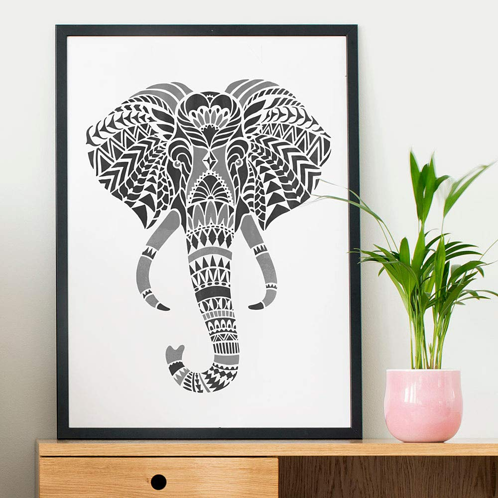 Elephant Head Wall Art Stencil - DIY Tribal Design - Geometric Stencil for Home Makeovers (Large)