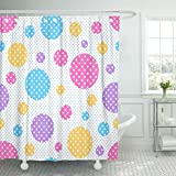 Pink and Purple Polka Dot Shower Curtain Breezat Shower Curtain Pink Kids Geometric Pattern with Colored Circles White Polka Dots on of Teal Abstract Waterproof Polyester Fabric 72 x 72 Inches Set with Hooks
