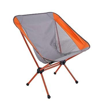 Reclinado Plegable Sillas Plegables portátiles ultraligeras para la Playa de Camping - Naranja/Gris Silla