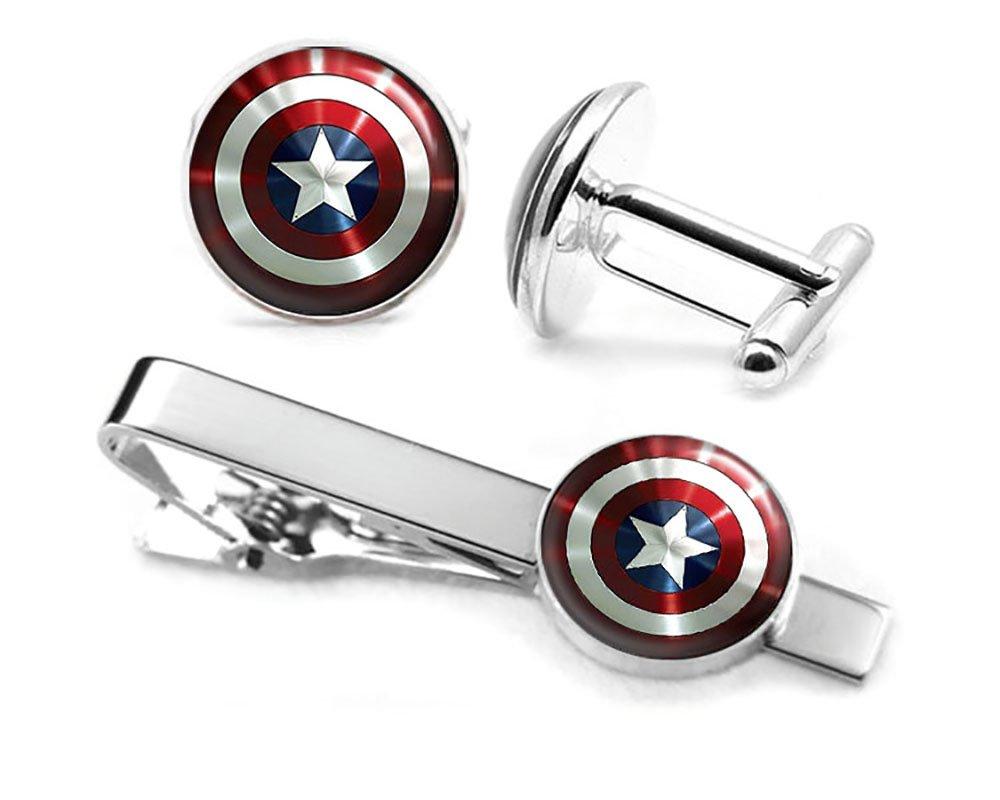 SharedImagination Captain America Cufflinks, The Avengers Jewelry, Shield Tie Clip, Superhero Wedding Party and Groomsmen Gift Geek Shield Cufflinks