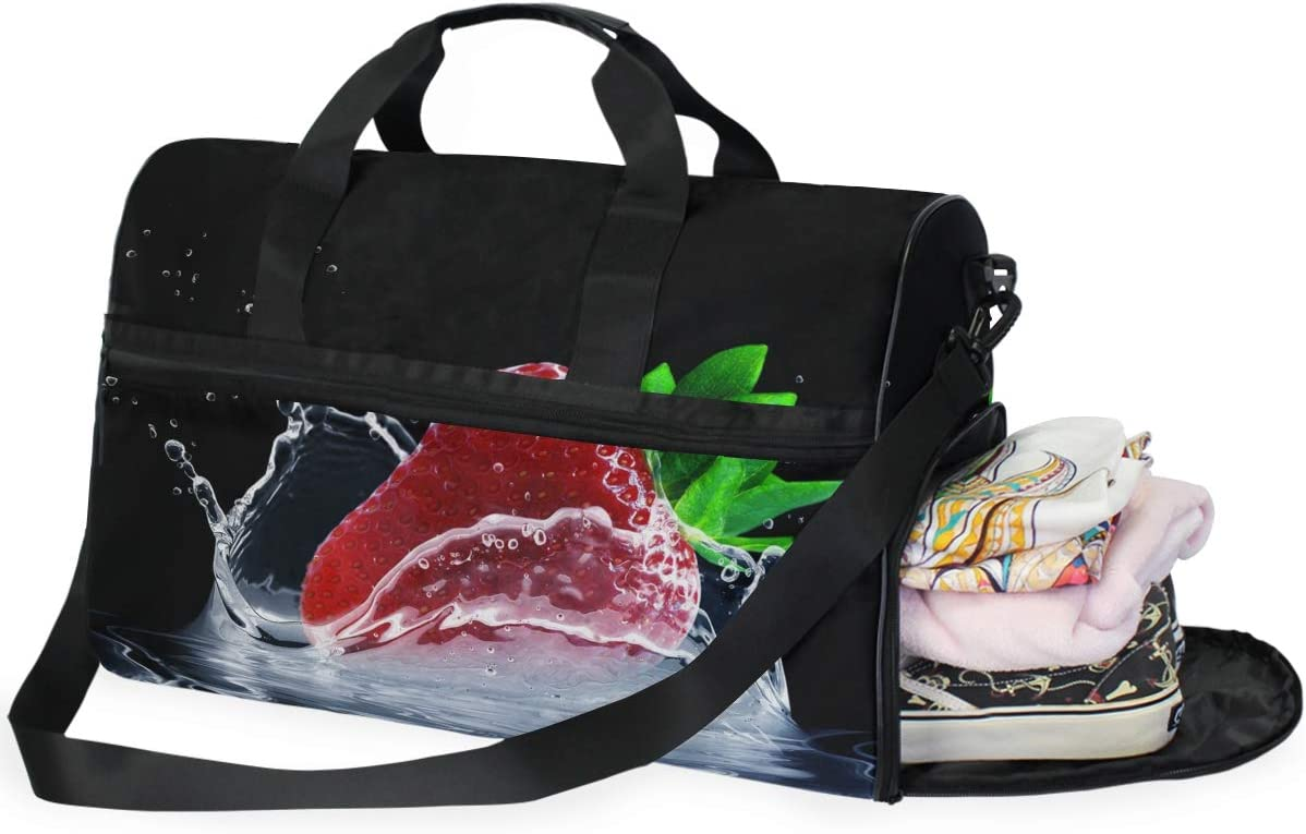 MUOOUM Fruit Strawberry Art Painting Large Duffle Bags Sports Gym Bag with Shoes Compartment for Men and Women