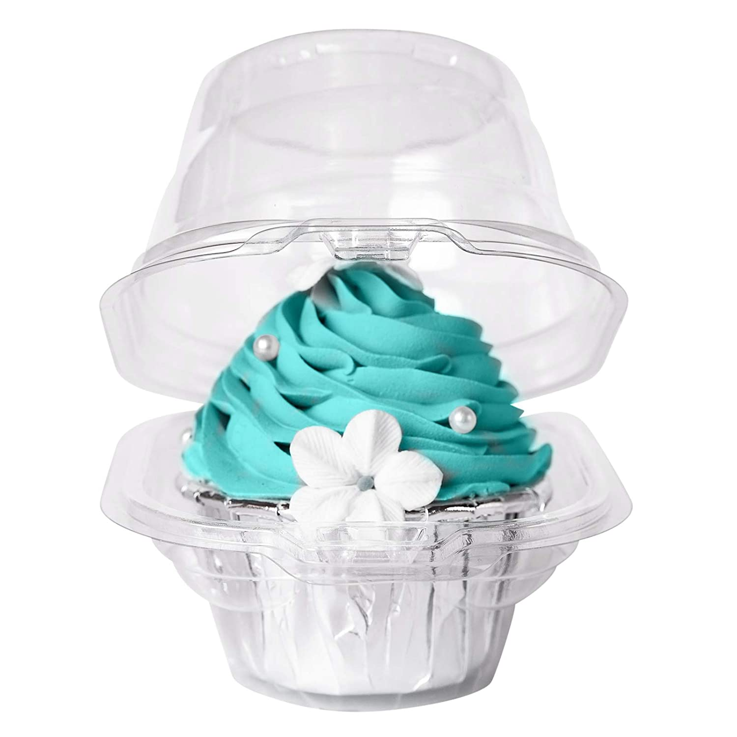 [50PCS]Single Clear Individual Cupcake Box,Small Stackable Take Out Container 1 Compartment with Lid Disposable Plastic Packaging,BPA-Free Dome Carrier Holder for Wedding Favor (Pack of 50)