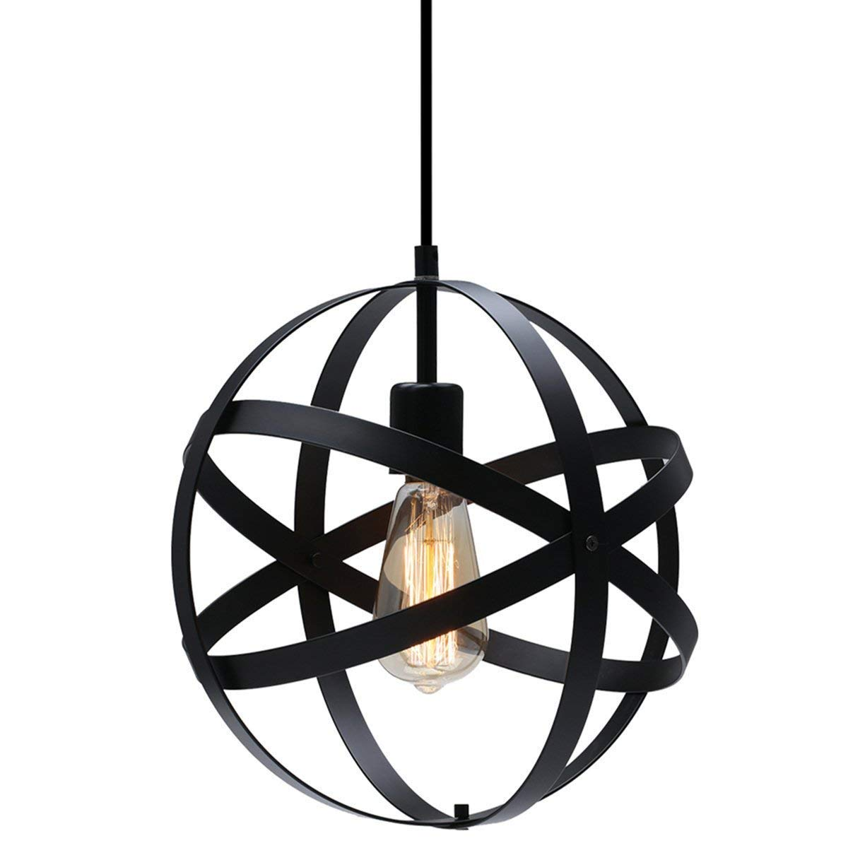 KingSo Industrial Metal Pendant Light, Spherical Ceiling Light Globe Hanging Light Fixture for Kitchen Island Dining Table Bedroom Hallway by KINGSO (Image #1)