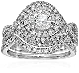 14k White Gold Diamond Bypass Bridal Wedding Ring Set (1 1/2cttw, I Color, I2 Clarity), Size 7