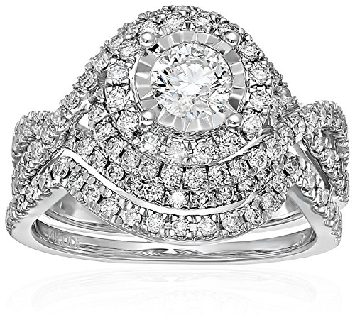 - 14k White Gold Diamond Bypass Bridal Wedding Ring Set (1 1/2cttw, I Color, I2 Clarity), Size 7