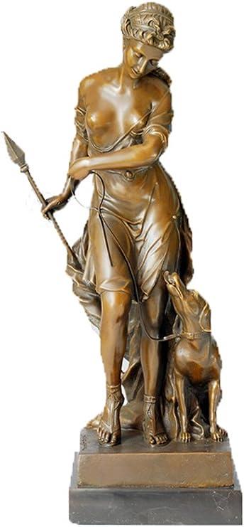 Amazon Toperkin ハントレス銅像 金属像彫刻家の装飾 TPE-169 置物 ...